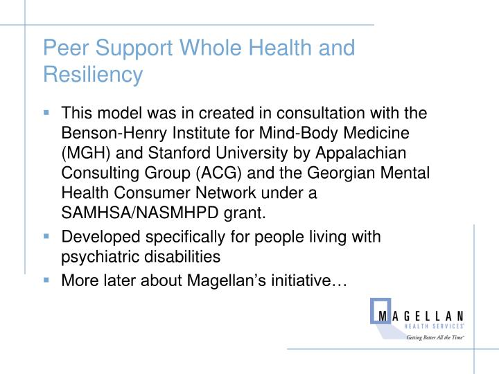 Peer Support Whole Health and Resiliency