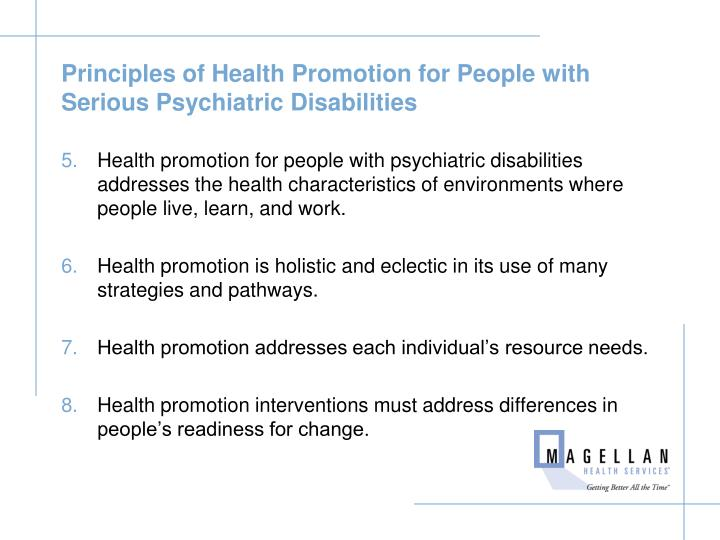 Principles of Health Promotion for People with Serious Psychiatric Disabilities
