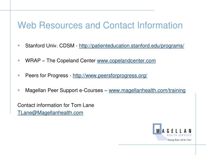 Web Resources and Contact Information