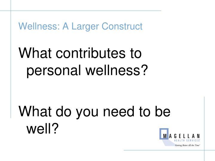 Wellness: A Larger Construct