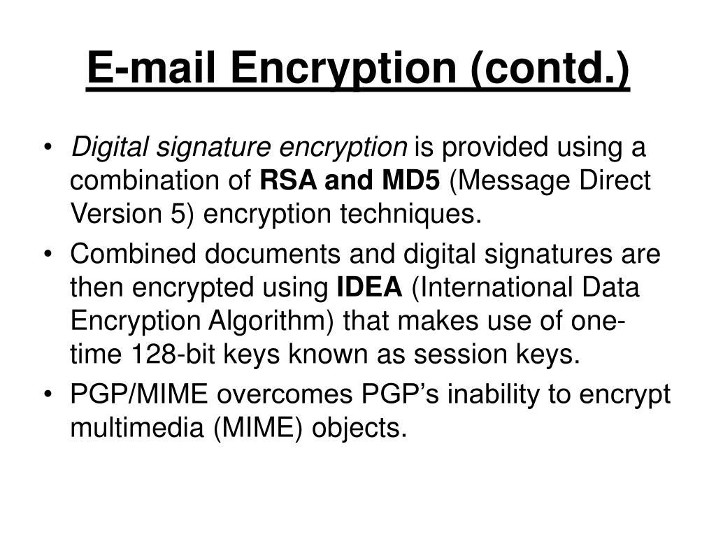E-mail Encryption (contd.)
