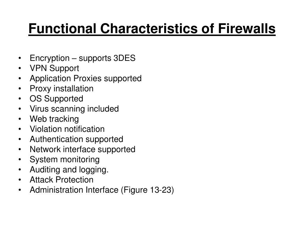 Functional Characteristics of Firewalls