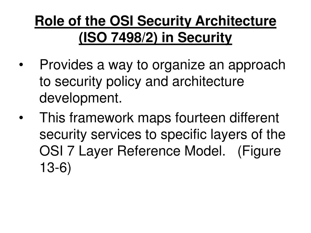 Role of the OSI Security Architecture