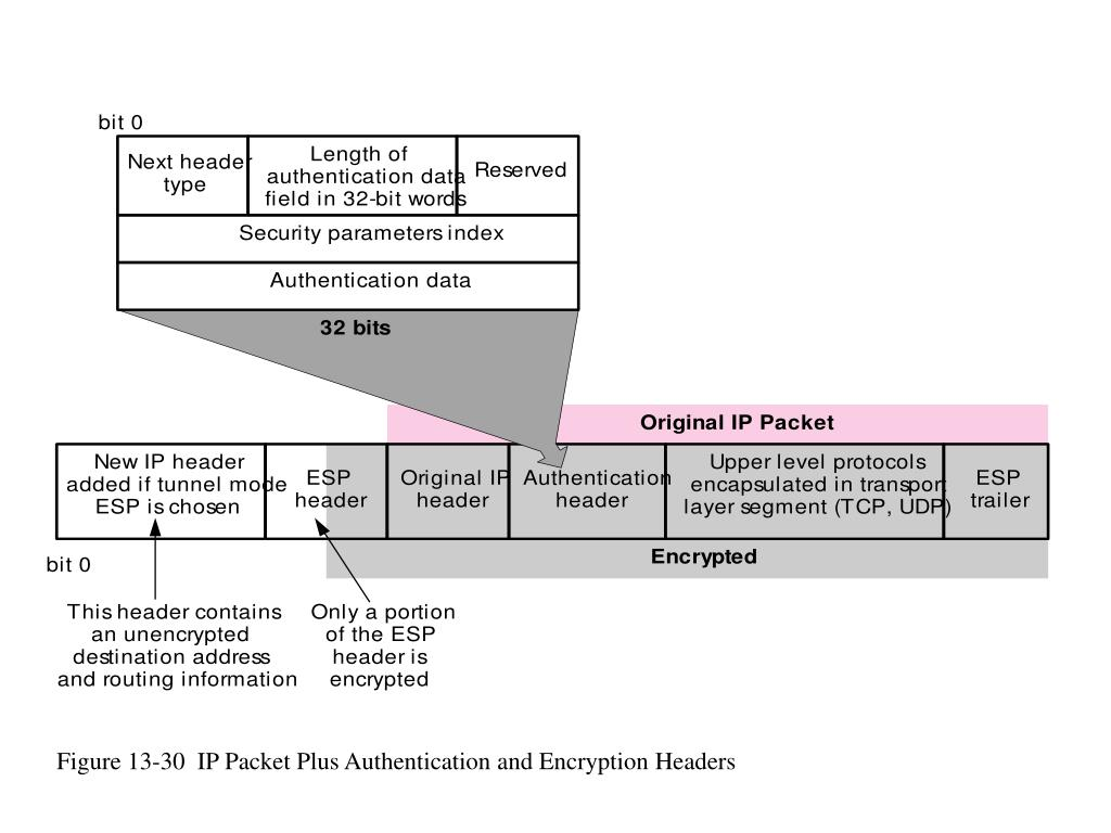 Figure 13-30  IP Packet Plus Authentication and Encryption Headers