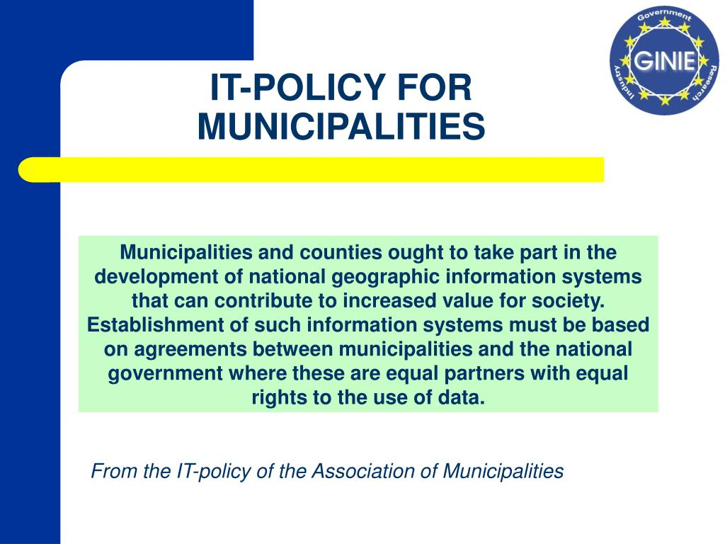 IT-POLICY FOR MUNICIPALITIES