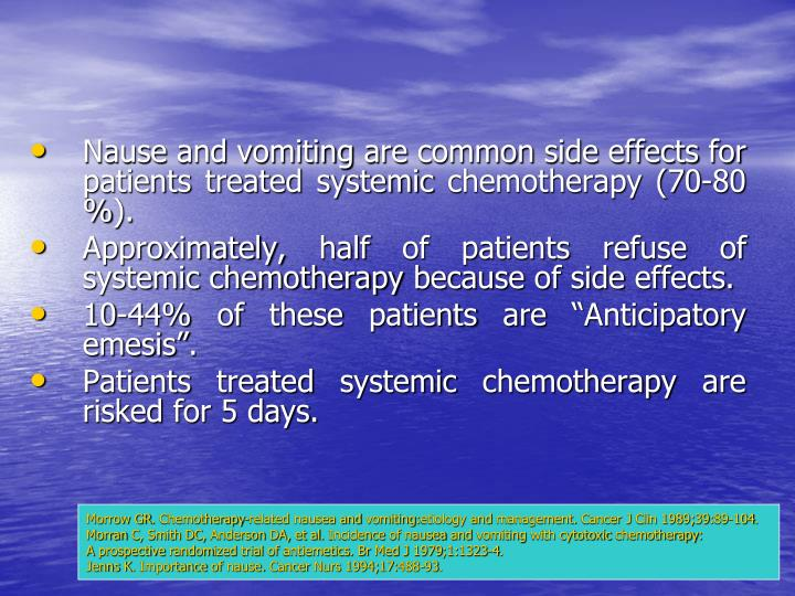 Nause and vomiting are common side effects for patients treated systemic chemotherapy (70-80 %).