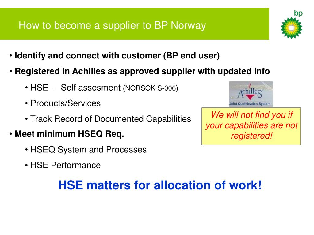 How to become a supplier to BP Norway