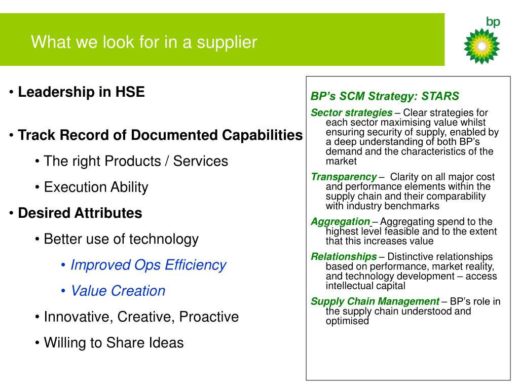 What we look for in a supplier