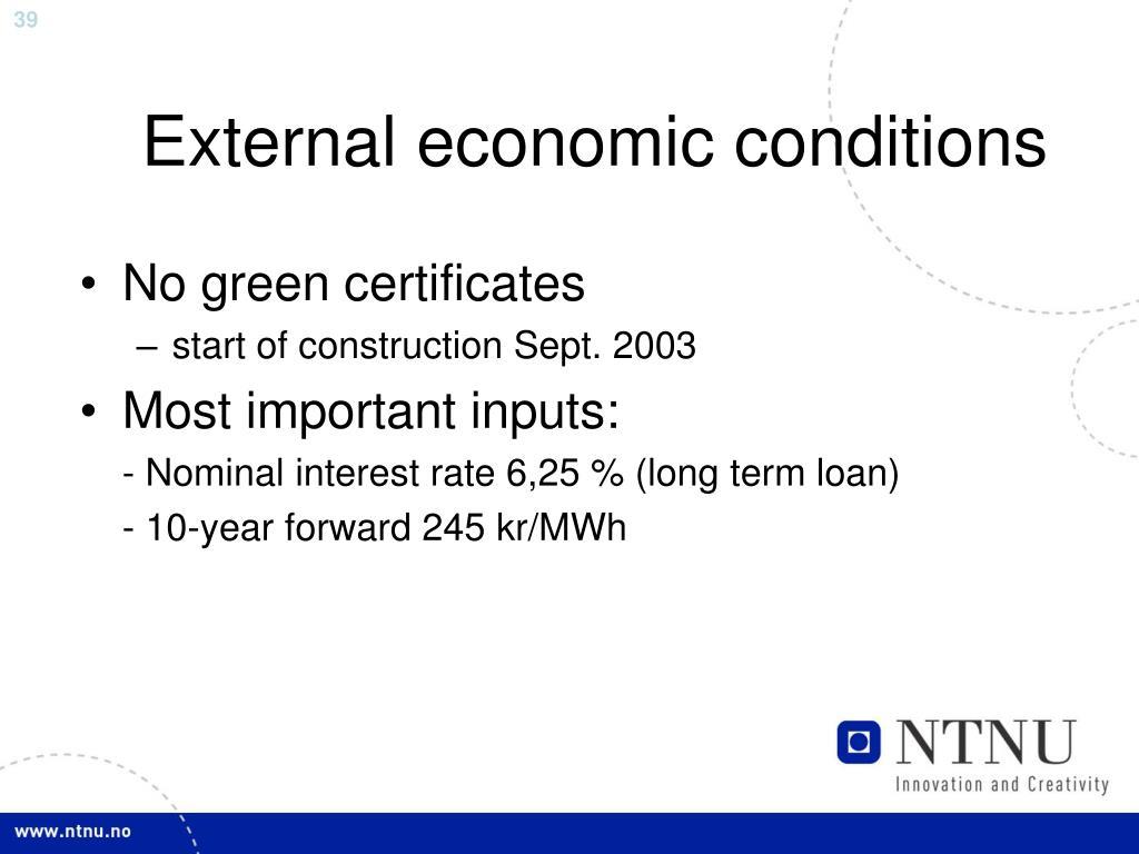External economic conditions