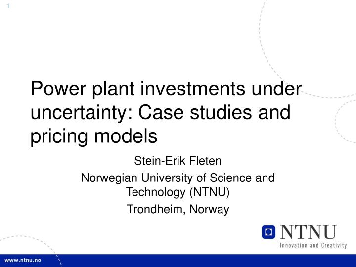 Power plant investments under uncertainty case studies and pricing models l.jpg