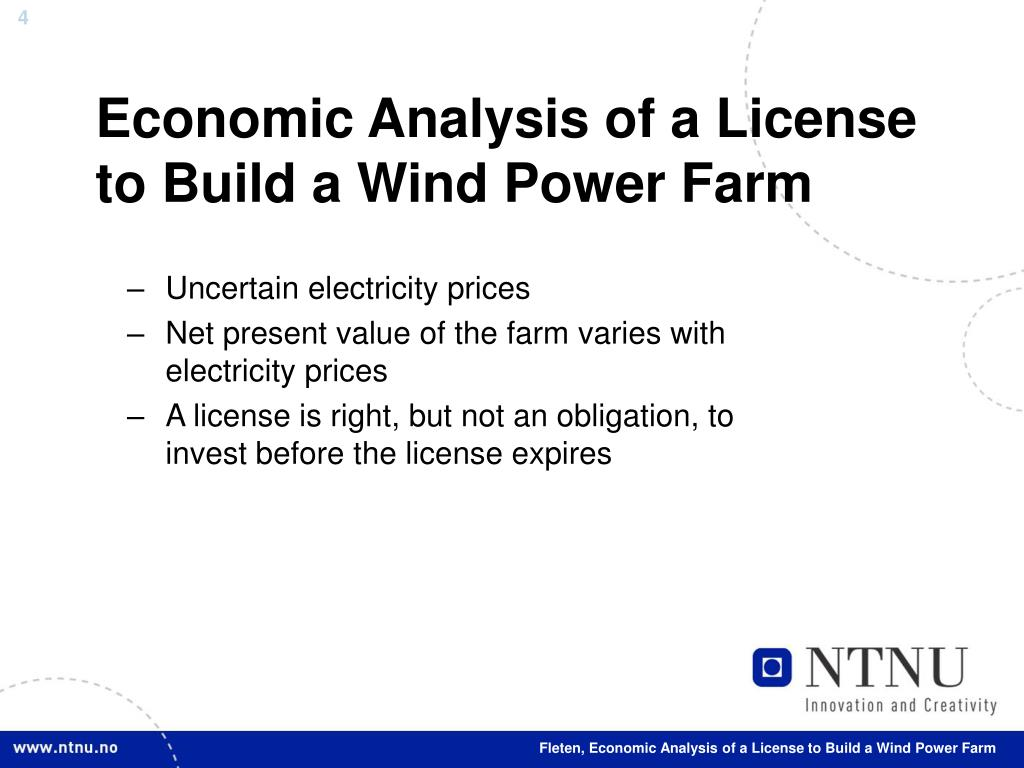 Economic Analysis of a License to Build a Wind Power Farm