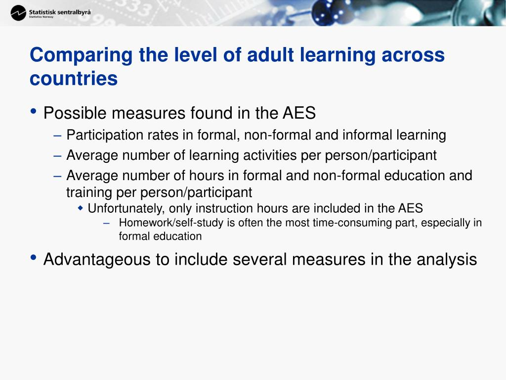 Comparing the level of adult learning across countries