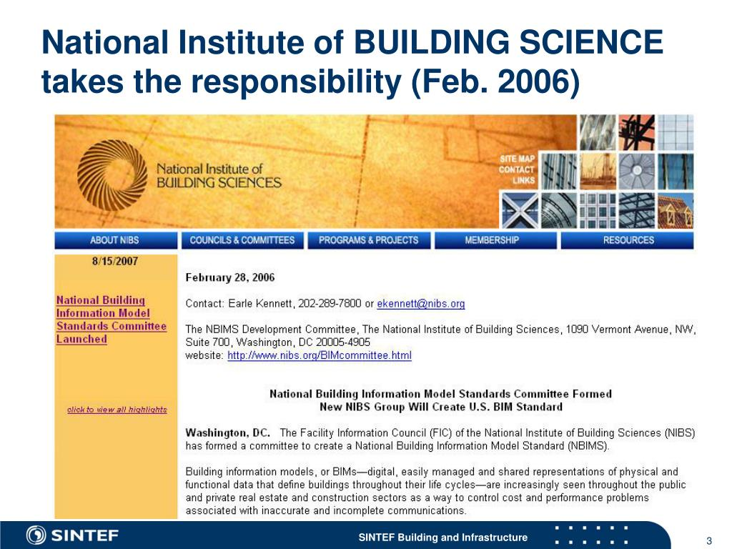 National Institute of BUILDING SCIENCE takes the responsibility (Feb. 2006)