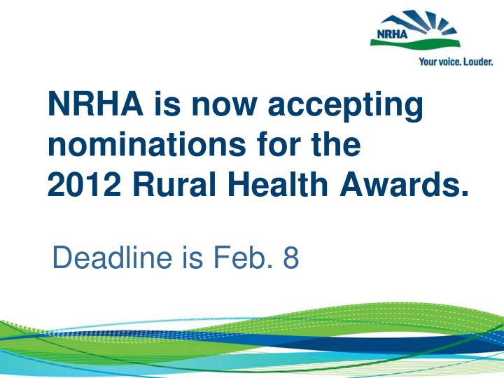 NRHA is now accepting