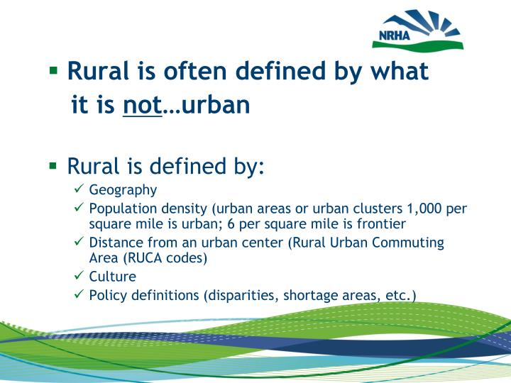 Rural is often defined by what