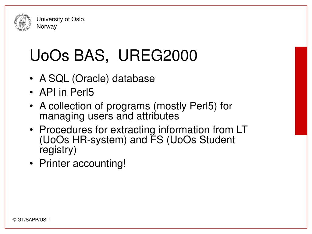 UoOs BAS,  UREG2000
