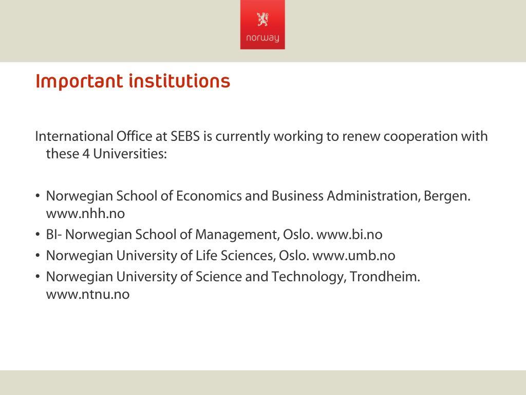 Important institutions