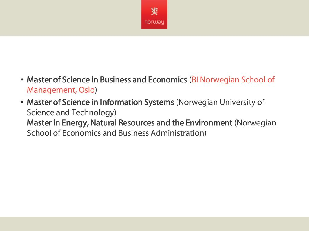 Master of Science in Business and Economics