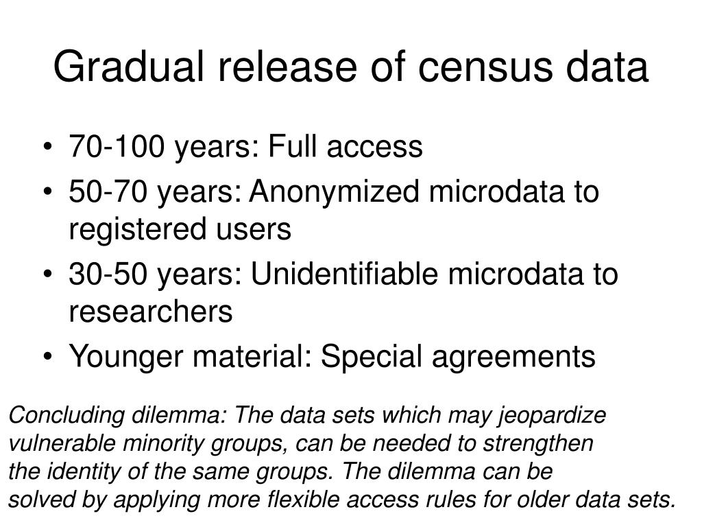 Gradual release of census data