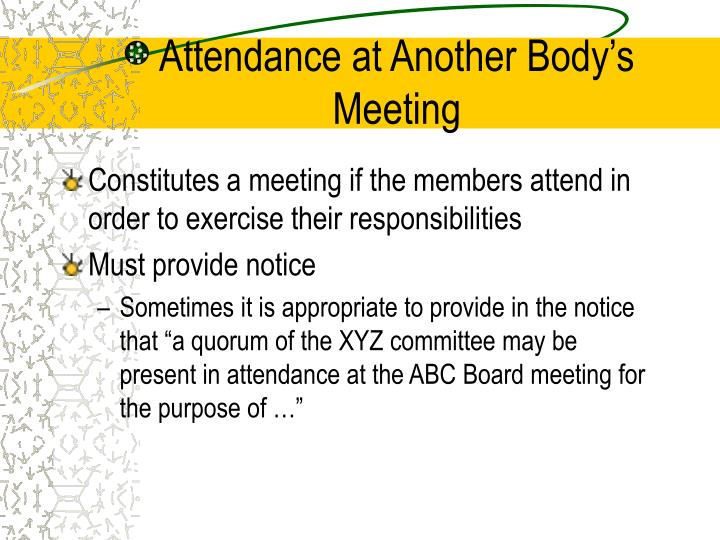 Attendance at Another Body's Meeting