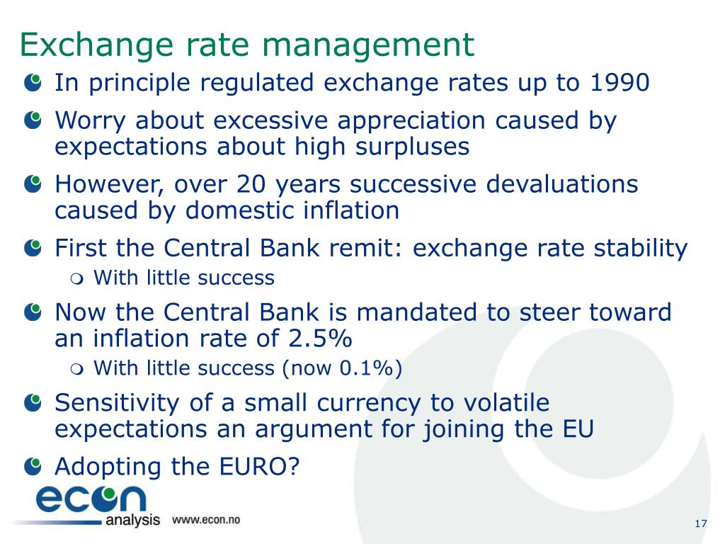 Exchange rate management