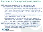 importance of transparency and pluralism