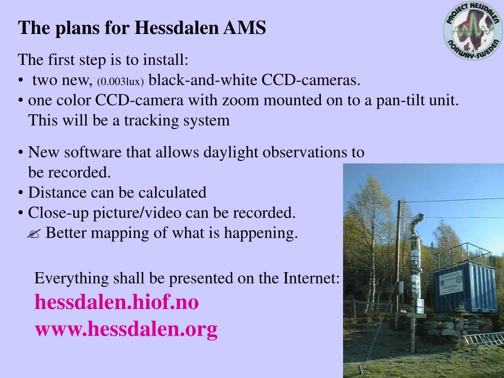 The plans for Hessdalen AMS