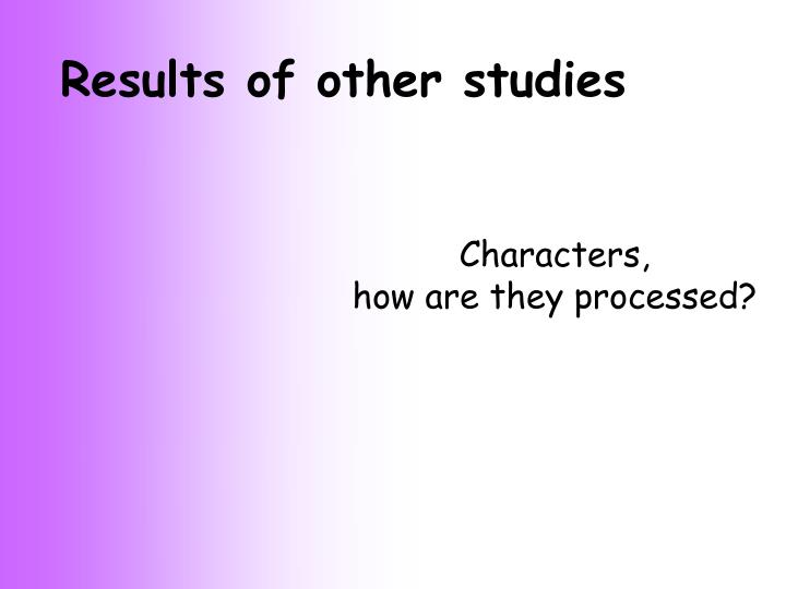 Results of other studies