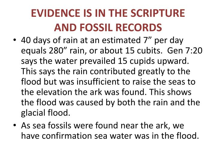 EVIDENCE IS IN THE SCRIPTURE