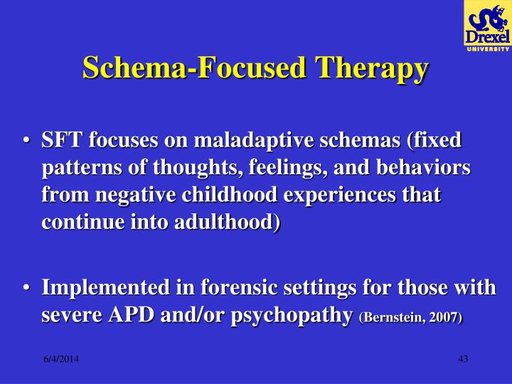schema therapy Schema therapy is an integrative psychotherapy approach mainly for the treatment of patients with personality disorders (pd) and other chronic mental disorders.