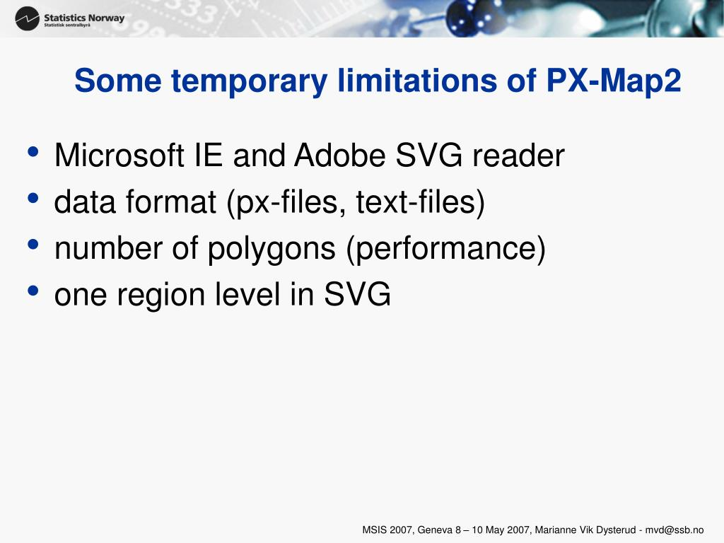Some temporary limitations of PX-Map2