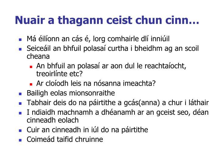 Nuair a thagann ceist chun cinn…