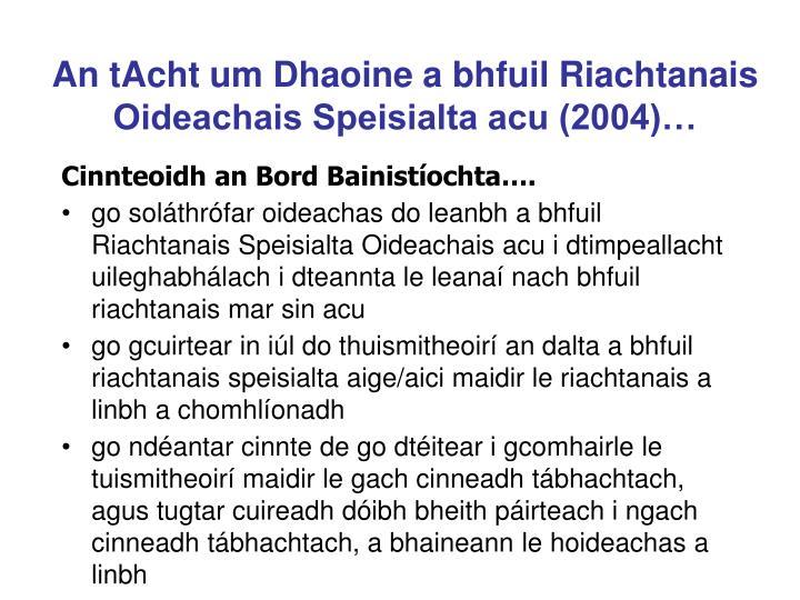 An tAcht um Dhaoine a bhfuil Riachtanais Oideachais Speisialta acu (2004)…