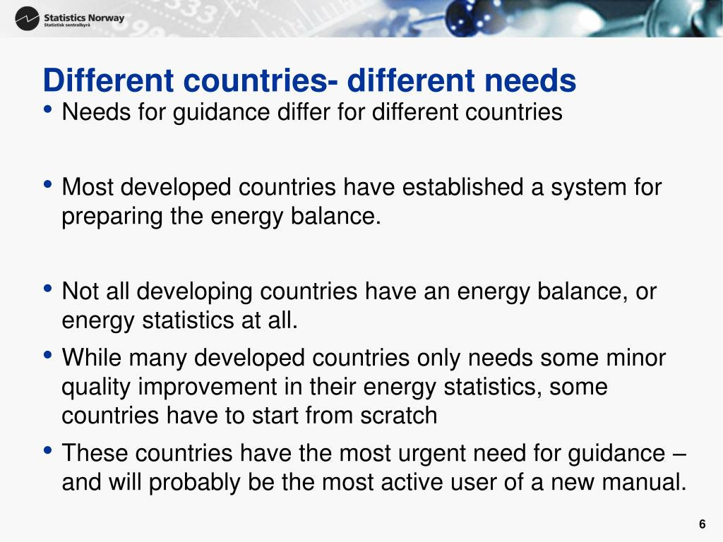 Different countries- different needs