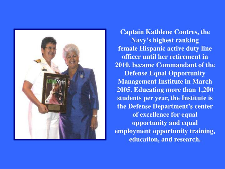 Captain Kathlene Contres, the Navy's highest ranking