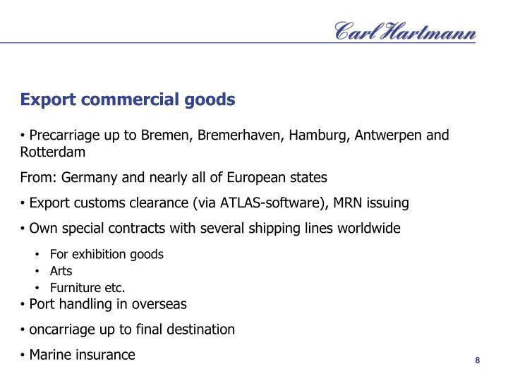 Export commercial goods