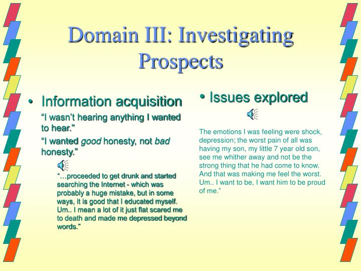 Domain III: Investigating Prospects