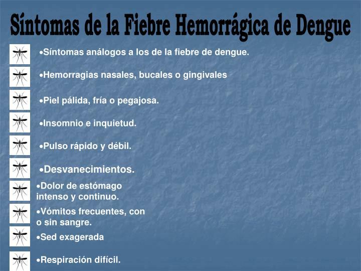 Síntomas de la Fiebre Hemorrágica de Dengue
