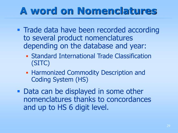 A word on Nomenclatures