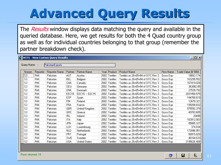 Advanced Query Results