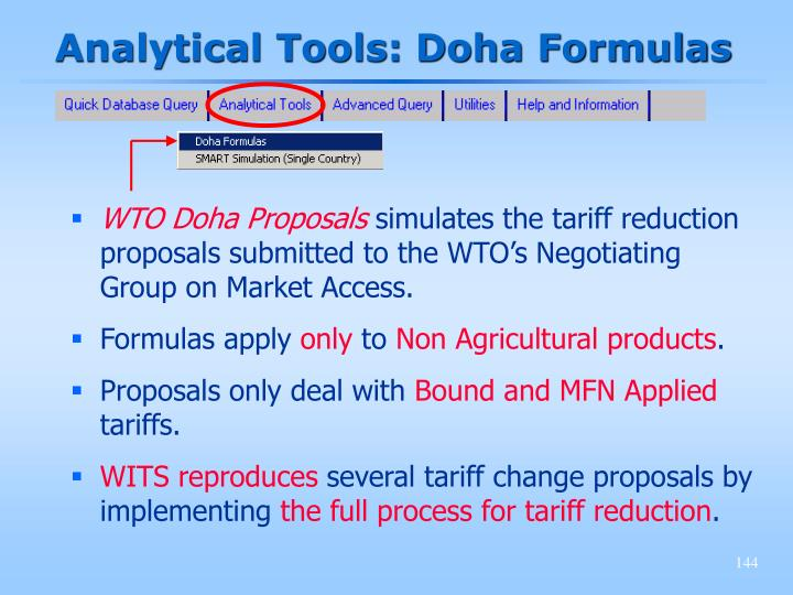 Analytical Tools: Doha Formulas