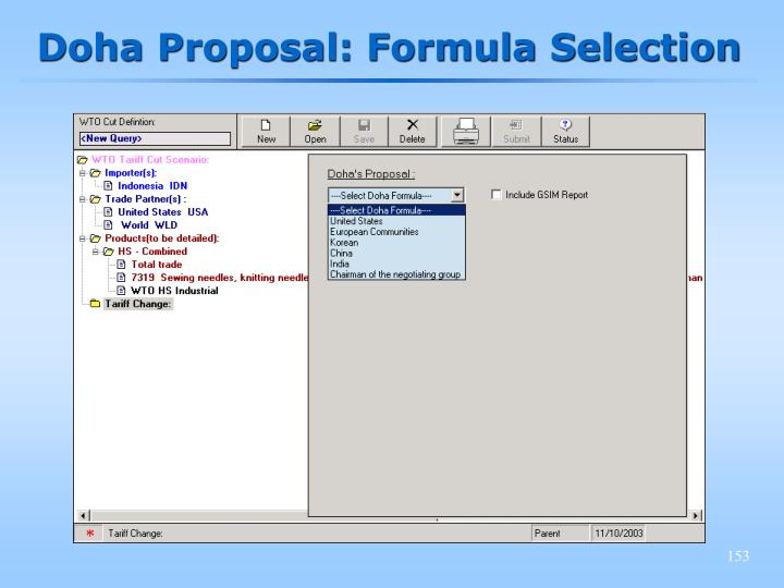 Doha Proposal: Formula Selection
