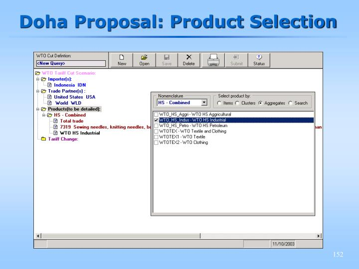 Doha Proposal: Product Selection