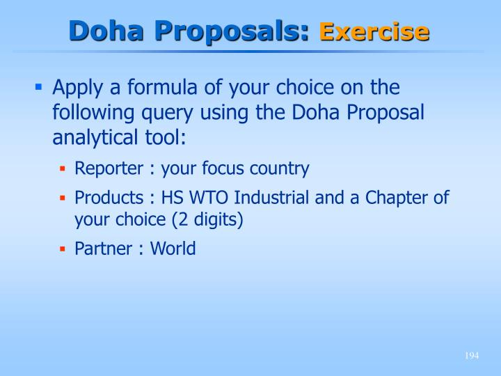 Doha Proposals: