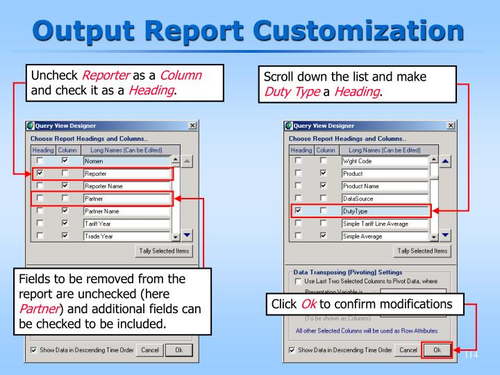 Output Report Customization