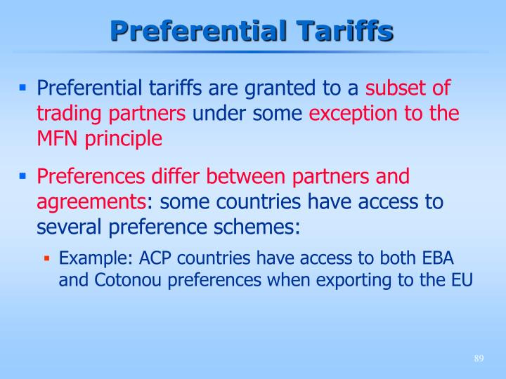Preferential Tariffs
