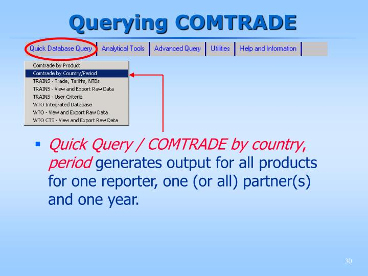 Querying COMTRADE