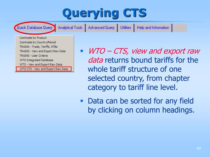 Querying CTS