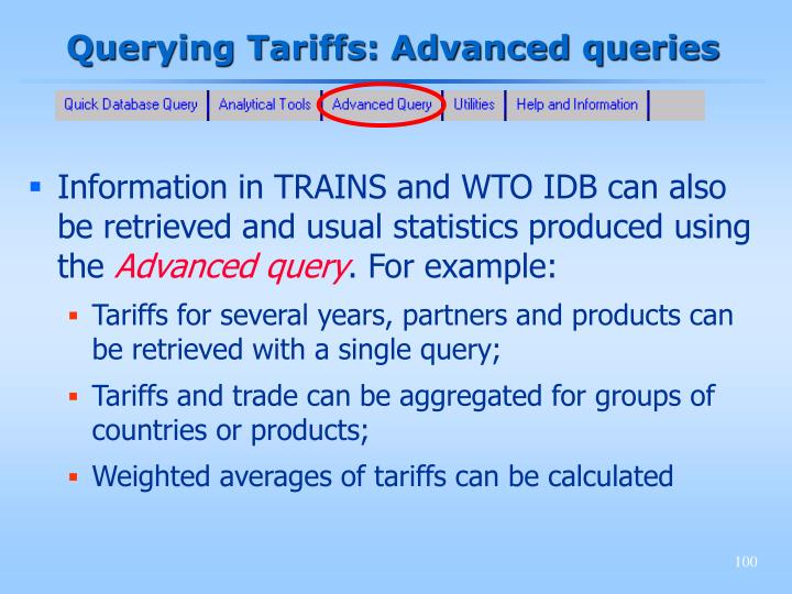 Querying Tariffs: Advanced queries