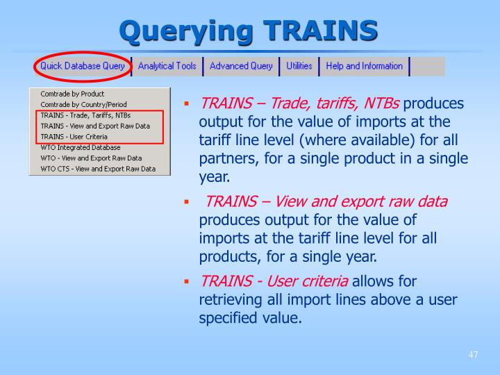 Querying TRAINS